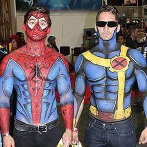 two guys at comic-con with painted on costumes