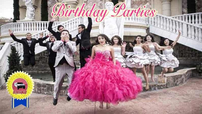 Image of San Diego Quinceanera Party jumping after getting out Hummer Limo